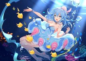 Rating: Safe Score: 87 Tags: animal aqua_eyes aqua_hair breasts catsizuru cleavage dress fish haiyi short_hair synthesizer_v underwater water watermark wristwear User: RyuZU