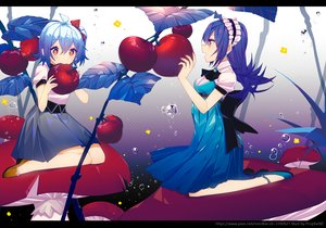 Rating: Safe Score: 38 Tags: 2girls bili_bili_douga bili_girl_22 bili_girl_33 blue_hair dress food fruit gradient headdress purple_eyes short_hair skirt tagme_(artist) User: RyuZU
