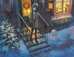 Rating: Safe Score: 75 Tags: boots building christmas hat original pippi_(p3i2) scarf snow snowman stairs winter User: FormX