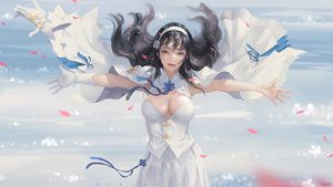 Rating: Safe Score: 67 Tags: anthropomorphism black_hair breasts cape cleavage clouds girls_frontline gloves long_hair qbz-95_(girls_frontline) realistic ribbons skirt sky taejune_kim watermark yellow_eyes User: BattlequeenYume