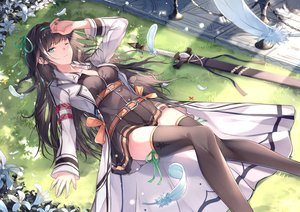 Rating: Safe Score: 83 Tags: black_hair bow dress feathers flowers fuuro_(johnsonwade) grass green_eyes headband long_hair original sword thighhighs weapon wink zettai_ryouiki User: RyuZU