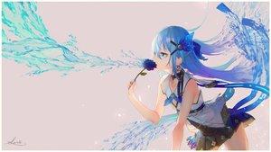 Rating: Safe Score: 57 Tags: aqua_eyes aqua_hair flowers long_hair original saraki signed User: kyxor