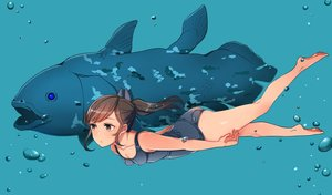 Rating: Safe Score: 97 Tags: ass barefoot breasts brown_hair cleavage erect_nipples i-401_(kancolle) kantai_collection oniku ponytail school_swimsuit swimsuit underwater water User: Wiresetc