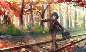 Rating: Safe Score: 141 Tags: autumn black_hair kikivi leaves long_hair original pantyhose scarf school_uniform train tree User: Flandre93
