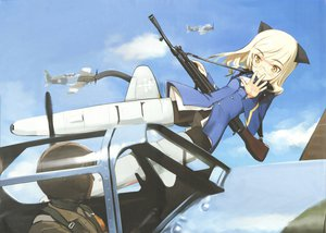 Rating: Safe Score: 30 Tags: animal_ears gun perrine-h_clostermann shimada_fumikane strike_witches tail weapon User: 秀悟