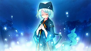Rating: Safe Score: 37 Tags: game_cg gray_hair hat nanashi_(suika_niritsu) night ribbons short_hair sky stars suika_niritsu User: Maboroshi