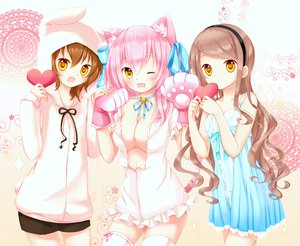 Rating: Safe Score: 275 Tags: animal_ears bell blush bow breasts brown_hair catgirl cleavage dress gloves goma_(11zihisin) headband long_hair male open_shirt original pink_hair ribbons short_hair syroh thighhighs trap wink yellow_eyes User: Maboroshi