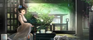 Rating: Safe Score: 122 Tags: animal black_hair building cat chinese_clothes chinese_dress dress drink flowers kikivi leaves long_hair original smoking torii User: Flandre93