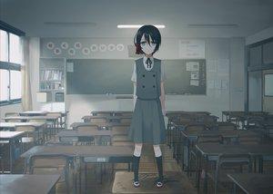 Rating: Safe Score: 25 Tags: aqua_eyes black_hair kneehighs original seifuku short_hair skirt tagme_(artist) User: RyuZU