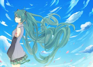 Rating: Safe Score: 16 Tags: aqua_eyes aqua_hair clouds hatsune_miku long_hair skirt sky twintails vocaloid User: HawthorneKitty