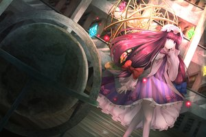 Rating: Safe Score: 10 Tags: bow cacao_devil dress hat long_hair patchouli_knowledge purple_eyes touhou User: RyuZU