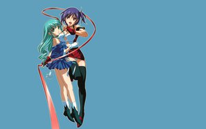 Rating: Questionable Score: 3 Tags: 2girls aqua_eyes aqua_hair blue eclair gloves kiddy_grade lumiere purple_hair red_eyes thighhighs User: 秀悟