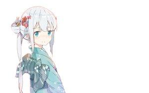 Rating: Safe Score: 96 Tags: aqua_eyes blush bow eromanga-sensei gray_hair izumi_sagiri japanese_clothes kimono loli long_hair mitu_yang white User: RyuZU