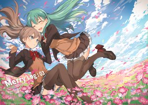 Rating: Safe Score: 29 Tags: 2girls anthropomorphism blue_eyes blush bow brown_hair clouds flowers green_hair kantai_collection kumano_(kancolle) ponytail seifuku skirt sky suzuya_(kancolle) thighhighs ume_(plumblossom) watermark User: BattlequeenYume