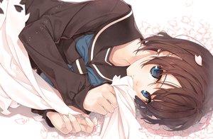 Rating: Safe Score: 56 Tags: amamiya_chiharu blue_eyes brown_hair close original petals seifuku short_hair waifu2x User: BattlequeenYume