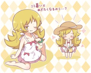 Rating: Safe Score: 19 Tags: bakemonogatari barefoot blonde_hair bow chibi dress fang food long_hair mitarashi_neko monogatari_(series) oshino_shinobu translation_request wink wristwear yellow_eyes User: otaku_emmy