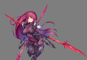 Rating: Safe Score: 58 Tags: blush bodysuit breasts fate/grand_order fate_(series) long_hair navel nidy-2d- petals photoshop purple_hair red_eyes scathach_(fate/grand_order) skintight skirt_lift spear watermark weapon User: luckyluna