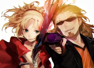 Rating: Safe Score: 10 Tags: blonde_hair brown_hair fate/apocrypha fate_(series) glasses green_eyes gun male mordred ponytail shishigou_kairi short_hair sword weapon yuni_(via_junk) User: RyuZU