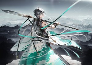 Rating: Safe Score: 45 Tags: all_male black_hair chinese_clothes landscape male ribbons scenic spear tattoo tidsean vocaloid vocaloid_china weapon wristwear yellow_eyes yuezheng_longya User: otaku_emmy