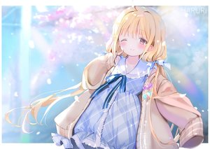 Rating: Safe Score: 70 Tags: aliasing blonde_hair blush bow brown_eyes dress futaba_anzu idolmaster idolmaster_cinderella_girls loli lolita_fashion long_hair mullpull ribbons twintails watermark wink User: otaku_emmy