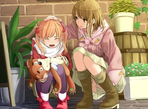 Rating: Safe Score: 121 Tags: 2girls boots brown_eyes brown_hair crying orange_hair original pantyhose tears teddy_bear twintails yoropa User: FormX