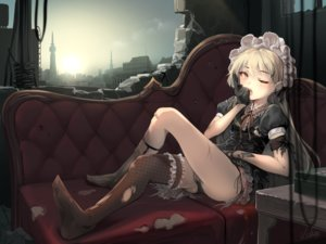 Rating: Questionable Score: 58 Tags: anthropomorphism bandaid blonde_hair blush building cameltoe city clouds couch garter girls_frontline gloves goth-loli gun headdress lolita_fashion orange_eyes ppk_(girls_frontline) sky techgirl thighhighs usuki_(graygreed) weapon wink User: RyuZU