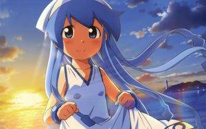 Rating: Safe Score: 50 Tags: blue_eyes blue_hair hat ikamusume loli shinryaku!_ikamusume sunset User: meccrain