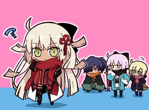 Rating: Safe Score: 8 Tags: black_hair blonde_hair chibi fate/grand_order fate_(series) garter glasses green_eyes heroine_x heroine_x_alter japanese_clothes long_hair male okada_izou_(fate) orange_eyes ponytail saber sakura_saber sakura_saber_alter scarf seifuku short_hair tagme_(artist) thighhighs User: otaku_emmy