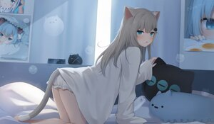 Rating: Safe Score: 105 Tags: amashiro_natsuki animal_ears aqua_eyes bed bloomers catgirl gray_hair long_hair nacho_neko original shirt tail User: otaku_emmy