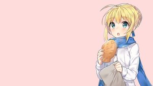 Rating: Safe Score: 61 Tags: artoria_pendragon_(all) blonde_hair fate_(series) fate/stay_night food saber scarf third-party_edit User: CountFapula013