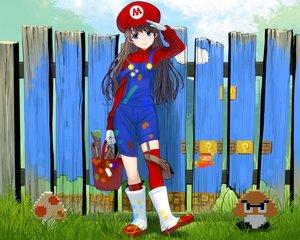 Rating: Safe Score: 85 Tags: aqua_eyes brown_hair cropped genderswap gloves grass hat long_hair mario masao super_mario User: mattiasc02