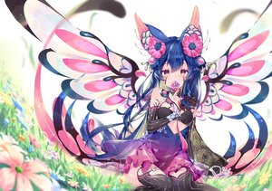 Rating: Safe Score: 93 Tags: animal_ears blue_hair braids daefny flowers grass long_hair original purple_eyes signed thighhighs wings User: BattlequeenYume