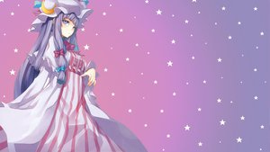 Rating: Safe Score: 146 Tags: bow dress gradient hat long_hair moon patchouli_knowledge pink purple purple_eyes purple_hair shingo_(missing_link) stars third-party_edit touhou User: xdemonessx