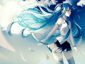 Rating: Safe Score: 30 Tags: beckzawachi blue_hair calc._(vocaloid) clouds feathers hatsune_miku long_hair polychromatic sky thighhighs tie twintails vocaloid zettai_ryouiki User: FormX