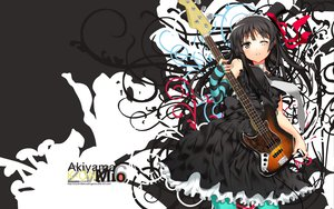 Rating: Safe Score: 75 Tags: akiyama_mio black_eyes black_hair ch@r dress gloves guitar instrument k-on! long_hair tie User: HawthorneKitty