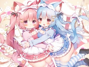 Rating: Safe Score: 46 Tags: 2girls alice_in_wonderland animal_ears bell blue_hair blush bow breasts cake catgirl choker cleavage drink flowers food headband hug kobone_(koma_momozu) koma_momozu lolita_fashion long_hair miruku_(koma_momozu) original pink_hair purple_eyes red_eyes ribbons signed tail thighhighs twintails zettai_ryouiki User: BattlequeenYume