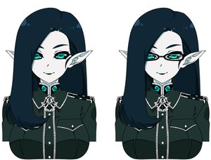 Rating: Safe Score: 18 Tags: aqua_eyes blue_hair breasts glasses long_hair military original pointed_ears reddgeist uniform white User: otaku_emmy
