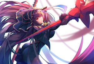 Rating: Safe Score: 62 Tags: armor ass bodysuit fate/grand_order fate_(series) gloves headdress long_hair munseonghwa purple_hair red_eyes scathach_(fate/grand_order) spear weapon User: FormX