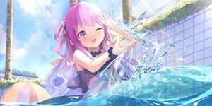 Rating: Safe Score: 91 Tags: ball bikini blush building clouds himemori_luna hololive kananote long_hair pool purple_hair sky swimsuit tree water wink User: BattlequeenYume