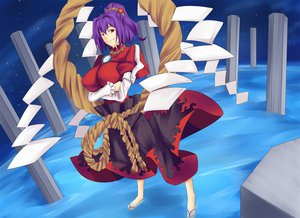 Rating: Safe Score: 22 Tags: night ponytail purple_hair red_eyes stars touhou untue water yasaka_kanako User: austerely