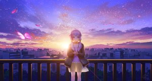 Rating: Safe Score: 32 Tags: building butterfly city clouds landscape long_hair petals purple_eyes purple_hair scenic see_through signed skirt sky sunset technoheart twintails vocaloid voiceroid waifu2x yuzuki_yukari User: RyuZU