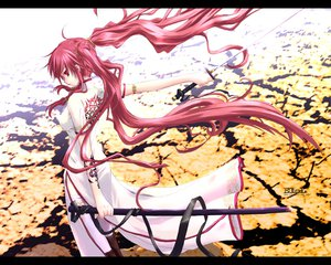 Rating: Safe Score: 237 Tags: chinese_clothes chinese_dress dress long_hair original red_eyes red_hair sword thighhighs twintails weapon User: Oyashiro-sama