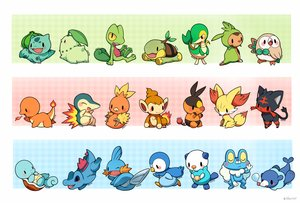 Rating: Safe Score: 93 Tags: bulbasaur charmander chespin chikorita chimchar cyndaquil fennekin froakie huiro litten mudkip oshawott piplup pokemon popplio rowlet snivy squirtle tepig torchic totodile treecko turtwig User: FormX