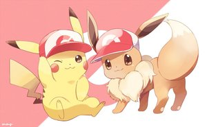 Rating: Safe Score: 19 Tags: brown_eyes cat_smile eevee hat may_(maysroom) pikachu pokemon signed wink User: otaku_emmy