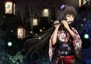 Rating: Safe Score: 184 Tags: black_hair din_(raiden) flowers flute instrument japanese_clothes long_hair megurine_luka vocaloid User: FormX