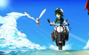 Rating: Safe Score: 73 Tags: animal bird clouds gloves goggles green_eyes green_hair hat ilis kino kino_no_tabi motorcycle short_hair sky User: opai