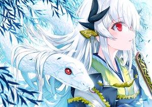 Rating: Safe Score: 53 Tags: animal close fan fate/grand_order fate_(series) japanese_clothes kimono kiyohime_(fate/grand_order) long_hair morizono_shiki red_eyes snake white_hair User: BattlequeenYume