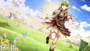Rating: Safe Score: 88 Tags: clouds cross_akiha fairy grass green_eyes green_hair gumi vocaloid User: FormX