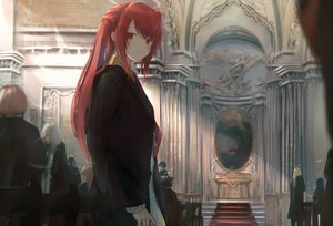 Rating: Safe Score: 51 Tags: 7ife arknights brown_eyes exusiai_(arknights) halo long_hair red_hair stairs User: BattlequeenYume