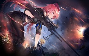 Rating: Safe Score: 115 Tags: 2girls anthropomorphism blonde_hair cozyquilt girls_frontline gloves green_eyes gun long_hair ntw-20_(girls_frontline) pantyhose pink_eyes ponytail short_hair tagme_(character) weapon User: RyuZU